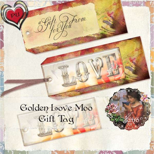 juno Golden Love Moo Gift Tag