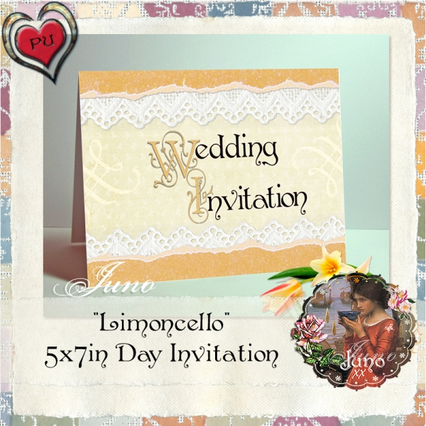 juno Wedding Invitation, Limoncello 5x7in Day Invitation
