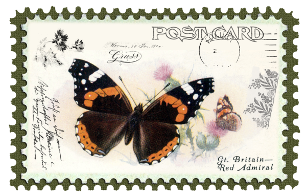 juno Vintage Butterfly Postage Stamp 3 Mat