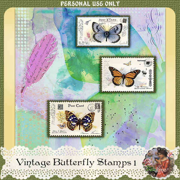 _juno Vintage Butterfly Postage Stamps 1