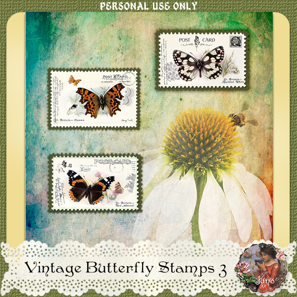 _juno Vintage Butterfly Postage Stamps 3